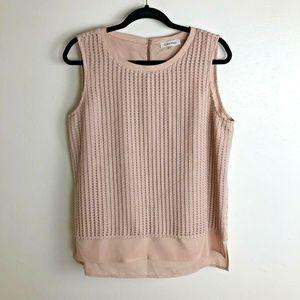 Calvin Klein L Blush Pink Sleeveless Top High Low